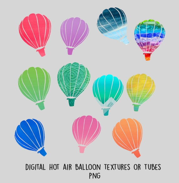 Digital Printable Hot Air Balloon Textures / Digital ...