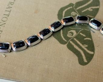 MONET Signed Bracelet Black Silver Tone Link Vintageg