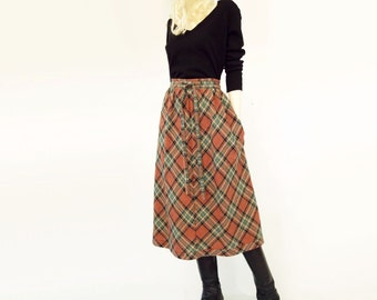 70s Boho Plaid Skirt, Vintage Wool Skirt, 1970s Olive Green, Rust Plaid Midi, 1970s Vintage Skirt, Fall Wool Skirt, Wrap Wool Skirt, s, m