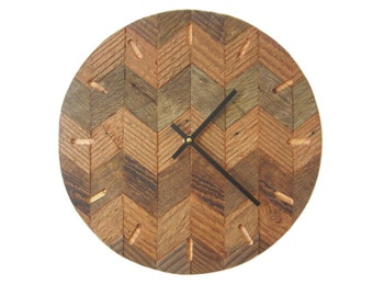 Reclaimed wood chevron wall clock