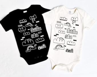 Cloud Sweeper -  hand printed organic baby bodysuit