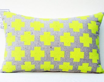 Me Plus You - swiss cross, neon throw pillow, organic, hand printed