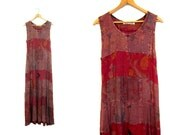 Boho Maxi Dress Patchwork Rayon Purple Pink Long Loose Fit Gypsy Hippie Sundress Floral Watercolor Printed Sun Dress Medium