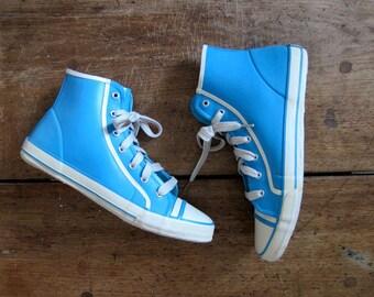80s Blue Rubber RAIN BOOTS 90s ESPRIT Converse Duck Boots High Top Rubber Sneakers Lace Up Tennis Shoes Retro Hipster Women's size 8