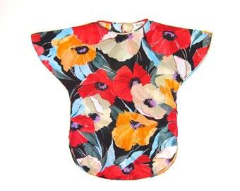 Vintage 70s Floral Top Colorful Flower Print Slub Shirt Sheer Tunic Top Hippie Boho Flutter Sleeves Slouchy Shirt Oversized Medium DELLS