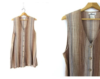Vintage BOHO Ethnic Vest Shirt Long cotton Tunic Tank Top sheer Blouse Brown taupe Minimalist Button Down Womens size Large Dell's