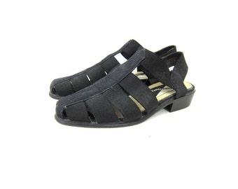 black Vintage Sandals 90s canvas Shoes Cut Out Sandals simple Low Heels Preppy Minimal summer Shoes Strappy Canvas Shoes Womens size 7.5