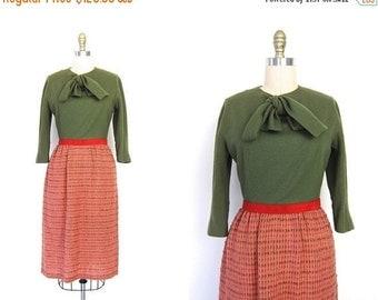1950s Pink and Olive Green Wiggle Dress Tweed 50s Woven Tweed Wool Midi Pencil Skirt 1950s Prep School Mod Modern Womens Small