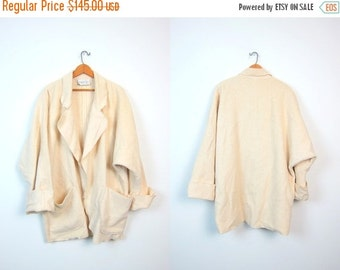 Minimal Draped Cream Wool Sweater Coat 80s Thick Heavy Modern Open Slouchy Cardigan Duster Minimalist Jacket Pockets Vintage Large Medium X