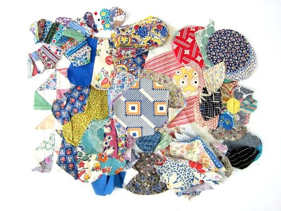 1950s hand stitched floral Shabby Chic fabric vintage Quilt blocks handsewn Folk Art hand pieced quilt starter fabric destash scraps