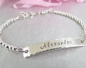 Personalized ID Bracelet. Hand Stamped Name Jewellery. Sterling Silver Beads.