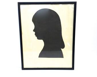 Vintage Framed Silhouette~ Little Girl with long hair~ Family portrait
