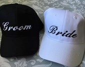 Bride and Groom Hats Embroidered cap Personalized Two Hats