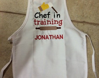 Personalized Embroidered Preschool Toddler K-6 Child Kids Boys Girls  Apron Many colors
