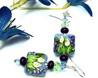 Calla Lily Earrings Flower Earrings Lampwork Earrings Floral Earrings Glass Earrings Blue Earrings Artisan Earrings Made To Order