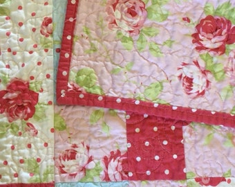 Shabby Sweet Roses and Polka Dots Baby Quilt Stroller Nursery Gift Girly