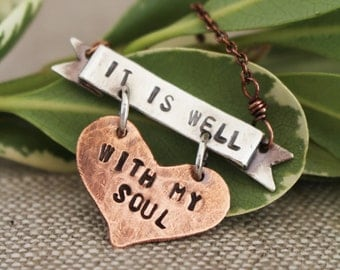 It Is Well With My Soul, Hand Stamped, Necklace
