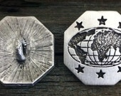2 World Map Pewter Shank Buttons 3/4 Inch & 1 Inch