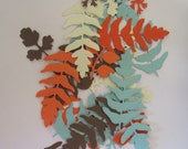 50  Assorted Leaves and Fern Leaves Embossed Cardstock die cuts Coral, Aqua, Cream, Brown