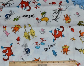 DR SEUSS FABRIC! / By The Half Yard For Quilting / Cat In The Hat - Horton - Lorax - One Fish