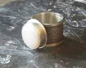 Handmade Lustrous Freshwater Coin Pearl Ring Very Wide Textured Band, Size 7-1/2, Ready to Ship, One of a Kind