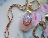 Pink Rose Quartz ~ Long Necklace ~ Boho  Pendant ~ Pink Harlequin Opal ~ Vintage Glass ~  Semi Precious ~ by Upsweptillusions