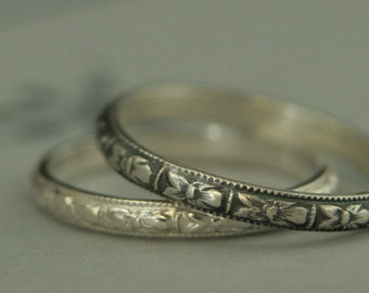 Silver Wedding Band--Women's Wedding Ring--Thin Renaissance Design--Vintage Style Orange Blossom Band--Antique Style Patterned Ring