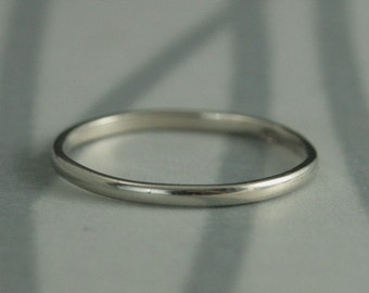 White Gold Women's Wedding Band--Thick Skinny Minnie--Solid 10K Recycled Gold Wedding Ring--Handmade Wedding Band-Gold Spacer Ring-Thin Band