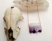 Minimalist Ombre Amethyst Bar Necklace || Purple Raw Crystal Pendant || Raw Gemstone Necklace || Amethyst Birthstone Necklace || Natural