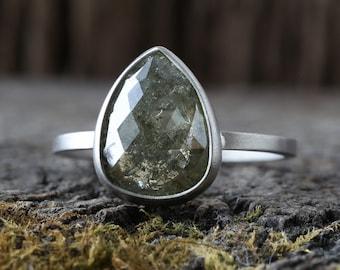 Natural Green Rose Cut Diamond Ring