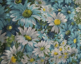 Fun Vintage Floral Daisies Fabric Blues Green Grey Yellow 2 yds +