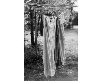 Farm Print, Rustic Wall Art, Farmhouse Decor, Clothesline Photo, Laundry Photograph, Still Life, Fine Art Photography, Black, White, Grey