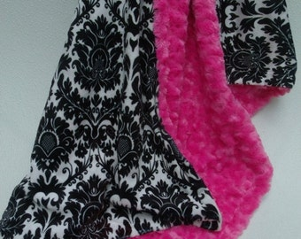 ON SALE Black Damask and Hot Pink Minky Baby Blanket, Black White Damask Blanket, Baby Girl Pink Minky Baby Blanket