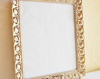Beautiful Vintage Gold and White Filigree Picture Frame with Glass 8x10 - Hang or Stand