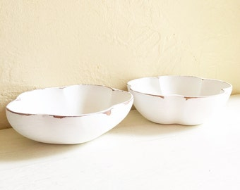 Matching Pair of Shabby Chic White Curvy Wood Flower Shaped Wooden Bowls