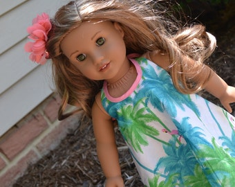 18 inch Doll Clothes - Flamingo Maxi Dress - Boho Chic - WHITE BLUE PINK - Florida Style - fits American Girl