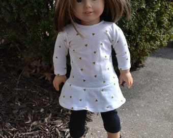 18 inch Doll Clothes - Gold Triangles Flounce Dress - METALLIC GOLD WHITE - fits American Girl