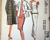 REDUCED Early 1960s Top, Skirt and Coat Ensemble Vintage Sewing Pattern, McCalls 7176