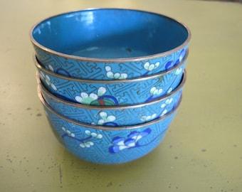 Set of 4 Vintage Chinese Cloisonne Bowls