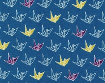 Origami cranes, blue Japanese fabric from Cosmo sakura collection
