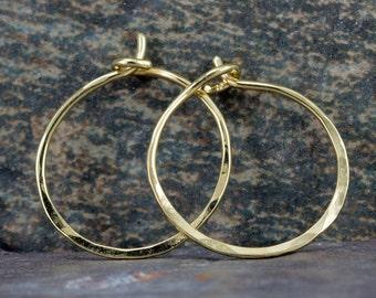 18k Gold Hoop Earrings - Small Gold Hoops - Solid 18k Gold Endless Hoops