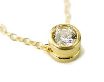 Moissanite Slide Necklace -  14k Gold Floating Pendant - 5mm Birthstone Necklace