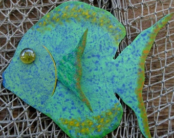 Metal Wall Art Fish Sculpture Tropical Sunfish Island beach House Coastal Wall Decor Aqua Green Blue  Sea Life Bathroom Art 7 x 9