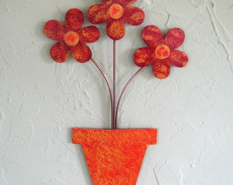 Metal art wall sculpture flower pot recycled metal home decor red orange 9 x 14