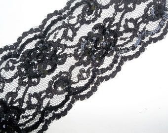 "Embroidered Lace Trim Black Sequin Trim Gothic Wedding Lace Vintage Black Lace ReEmbroidered Alencon Vintage 1980s  3.5 Yards X 6"" Wide"