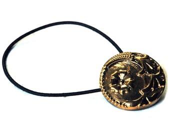 Glass Hair Accessory, Elastic Hair Tie, Gold Flower Design, Vintage Button Ponytail Holder, Art Nouveau Style, Hair Jewelry, Black Tie Event