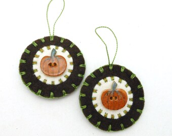 Hand Sewn Fall Pumpkin Ornaments with Porcelain Buttons- Set of 2