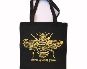 SAVE the BEES - Eco-Friendly Market Tote Bag - Hand Screen printed (Ships FREE!)