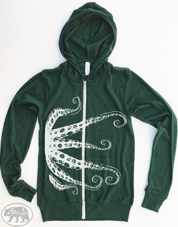 Unisex OCTOPUS Lightweight Eco Heather Zip Hoody - (6 Colors) all sizes XS S M L XL
