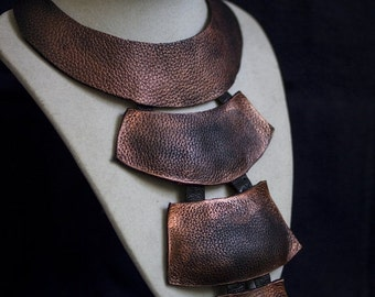 50% OFF SALE Designer long copper leather necklace Statement jewelry